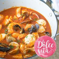 A comforting Italian dish, this tomato seafood stew, or Brodetto di Pesce, is a perfect winter dish soaked up with a good loaf of brea Lobster Soup, Lobster Dishes, Fish Dishes, Fish Recipes, Seafood Recipes, Gourmet Recipes, Soup Recipes, Cooking Recipes, Italian Soup