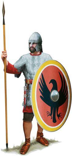 A Roman soldier of Legio Herculiani Seniores, the era of the Emperor Diocletian. Artwork by Tom Croft.