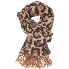 Charlotte Russe Leopard Oblong Fringe Scarf (360 CZK) ❤ liked on Polyvore featuring accessories, scarves, brown combo, charlotte russe scarves, fringe scarves, knit shawl, brown shawl and fringe shawl