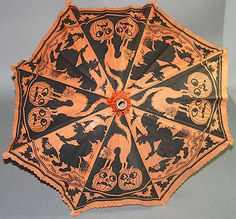 Vintage Crepe Paper Halloween Umbrella with Jack O Lanterns Witches Cats | eBay