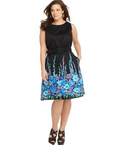 Spense , Sleeveless Printed Belted A-Line -  Macy's