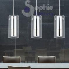 Lampadario lampada sospensione 4 luci design moderno acciaio cromo ...