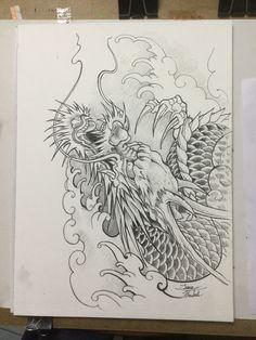 Japanese Dragon Tattoos, Japanese Tattoo Art, Japanese Tattoo Designs, Japanese Sleeve Tattoos, Dragon Head Tattoo, Black Dragon Tattoo, Dragon Tattoo Designs, Asian Tattoos, Black Ink Tattoos