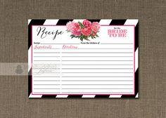 Black & White Stripe Recipe Card INSTANT DOWNLOAD with pink bloom Available at digibuddha.com