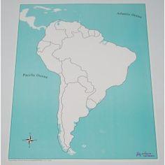 Carte de l'Amérique du Sud vierge