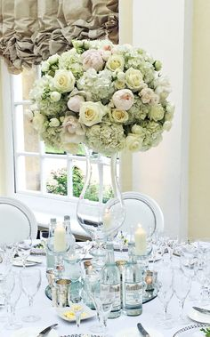 A tall centrepiece arrangement - soft mix of peonies, roses and hydrangeas Rose Centerpieces, Wedding Table Centerpieces, Wedding Ceremony Signs, Wedding Favors, Wedding Ideas, Reception Table Decorations, Wedding Decorations, Reception Ideas, Golden Anniversary