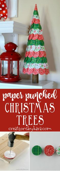 These Circle Punched Paper Christmas Trees are a fun and easy way to add charm to your Christmas decor.