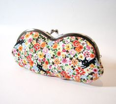Cocoland Kawaii Cat Floral Sunglass Eyeglass Case Frame Pouch Orange Made to Order Cat Fabric, Kawaii Cat, True Colors, Eyeglasses, Sunglasses Case, Orange Accessories, Great Gifts, Coin Purse, Pouch