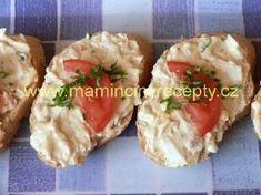 Pomazánka z tresčích jater Baked Potato, Potato Salad, Sushi, Pesto, Seafood, Recipies, Food And Drink, Appetizers, Snacks