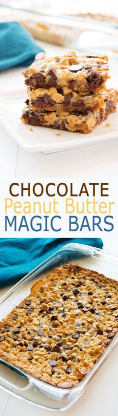 5 ingredient Chocolate Peanut Butter Magic Bars! Rich and fudgy one pan dessert with sweetened condensed milk and a graham cracker crust.