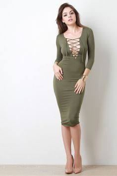 Lace Up Long Sleeve Midi Dress