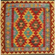 Afghan Handmade Vegetable Dyed Killim Size: M x M Bohemian Rug, Rugs, Handmade, Home Decor, Farmhouse Rugs, Hand Made, Decoration Home, Room Decor, Carpets