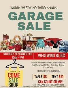 Create amazing garage sale flyers by customizing our easy to use templates. Add your content and be done in minutes. Free downloads. High quality prints.