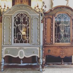 Jacobean Cabinet before & after #heirloomtraditionspaint #reposegray #jacobean #beforeandafter #Vintage