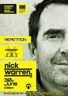 Sunday 30th Jun. 8.00pm – STROM:KRAFT pres the Repetition from the live recording of NICK WARREN (UK) at 696CLUB Zurich