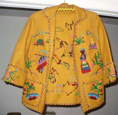 Beautiful Vintage Hand Made Sewn Southwestern Latin American Felt Wool Jacket Wool Felt, Hand Sewing, Sewing Patterns, Jackets For Women, Kimono Top, Hands, Quilts, American, Sweaters