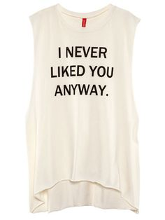 The Statement Muscle Tee Printed Tank Tops, Printed Shirts, Cool T Shirts, Funny Shirts, Long Shirts, Long White Shirt, White Tank, White White, Long Tank Tops