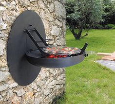 Natural wall mounted folding barbecue gril