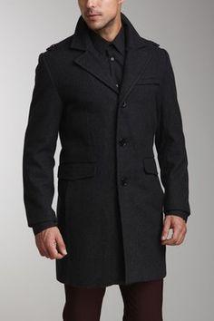 Kenneth Cole New York Melton Wool Walker Coat