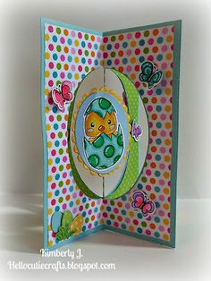 Kimberly's Crafty Spot: Easter Four Fun folds card using Easter Peeps stamp and die from Pink & Main stamps.