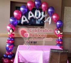 Personalised ballerina balloon arch from www.balloonsleeds.com