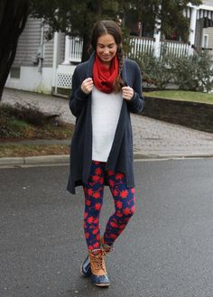 The perfect rainy day outfit - LuLaRoe leggings with a Cassie skirt as a scarf