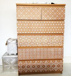 Annie Sloan Chalk paint + 5 different stencils + an IKEA Malm dresser = amazing transformation!