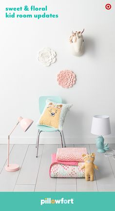 Accessories from Pillowfort's Floral Field collection are an instant way to personalize your child's space. Hang a cute unicorn above their bed, or add some flowers with pink and white floral wall art. Let them mix-and-match bedding to make a stylish statement of their own, or add cute animal pillows and lamps for a fun finishing touch.