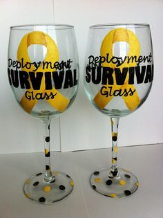Handpainted Deployment Survival Glass Wine Glass by GetWinedUp