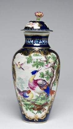 Vase and Cover Made by the Worcester porcelain factory, Worcester, England, 1751 - present Geography: Made in Worcester, England, Europe Date: c. 1770 Medium: Soft-paste porcelain with enamel and gilt decoration