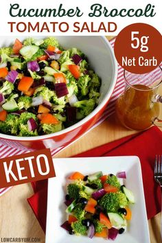 A colorful salad with broccoli, cucumber, and tomato. It's a perfect dish for a summer potluck! Free Keto Recipes, Low Carb Chicken Recipes, Side Dish Recipes, Beef Recipes, Whole Food Recipes, Salad Recipes, Cooking Recipes, Healthy Recipes, Healthy Meals