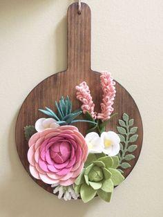 Rustic Wood Decor / Felt Flower Wall Decor / Wall Hanging /