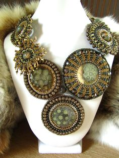 SYGRID Bead Embroidered OOAK Statement Necklace by kozimoart