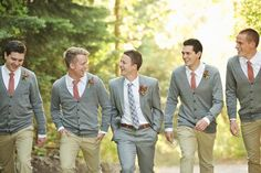 I wonder what these would look like with gray pants tan cardigans and coral ties? Then the groom in a gray/tan (taupe) type suit with coral boutonniere and turquoise tie