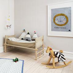 chambre nature avec des coussins en jacquard tricoté et cousu à la main