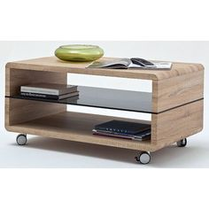 Franca Coffee Table In Oak With Grey Gl Shelf And Wheels
