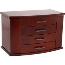 Mele & Co. Meredith Dark Burlwood Walnut Upright Jewelry Box