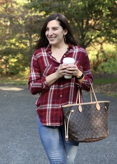 Fall outfit, Red Plaid Buttondown, Louis Vuitton Neverfull