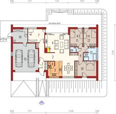 Projekt domu AC EX 8 (wersja B) soft CE - DOM - gotowy koszt budowy House Layout Plans, House Layouts, House Floor Plans, Modern Family House, Flooring, How To Plan, Home Decor, Dessert, Log Projects