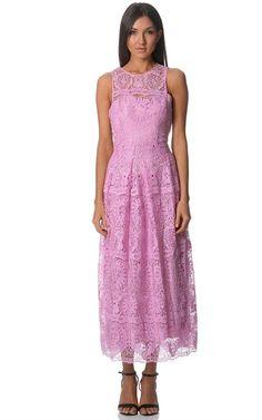 buyinvite.com.au - Pink Madelina Folk Lace Bib Bodice Midi Dress With Slip