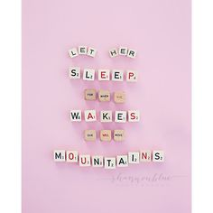 Love this so much. :: baby girl nursery photograph / sleep typography pink by shannonpix