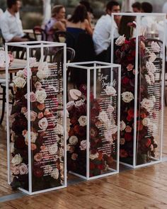 acrylic pedestals filled with flowers for wedding seating chart, Wedding Ideas , , ideas unique 2020 Wedding Trends To Bookmark: Part 2 ⋆ Ruffled Wedding Paper, Wedding Table, Wedding Reception, Budget Wedding, Wedding Favors, Hurley, Wedding Signs, Our Wedding, New Years Wedding