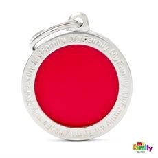 Show details for Big Circle Red Engraved Pet Tag  Free engraving www.myfamily.it  The main breeds of cats and dogs, reproduced in a range that is one of its kind worldwide.Each tag is hand enamelled and made from non-allergenic materials. Made in Italy This product can be customized with 3 lines on the back.  Tell us how to customize your product (eg. Name line 1, line 2 telephone number)