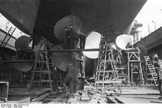 Close-up view of the propellers of battleship Bismarck, 1939-1940