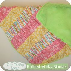 How to sew a ruffle minky blanket ~ Easy enough for beginner sewers to do.