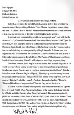 Essay - Capitalism u have to read this its hilarious