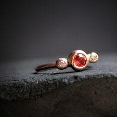 Red Orange Sapphire & Diamond Engagement Ring