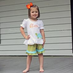 4/17/2013    Green and Orange Striped Knit Ruffle Short Set w/ Turtle Applique
