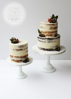"""""""Semi-naked cakes delivered for a wedding at the beautiful Kildare St University Club. Guinness and caramelised white chocolate; orange, almond and…"""" Rustic Birthday Cake, 2 Tier Birthday Cakes, Big Wedding Cakes, Luxury Wedding Cake, Caramelized White Chocolate, Guinness Cake, Fig Cake, Naked Cakes, Gourmet Cakes"""