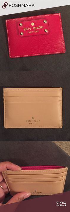 Kate Spade Wellesley Red Cardholder REAL Kate Spade Brand Wellesley Red Leather Cardholder. 3 small card pockets, 1 larger card pocket that can also hold folded bills. Hot pink lining inside, back is tan leather and hardware/ logo are gold metal. kate spade Bags Wallets